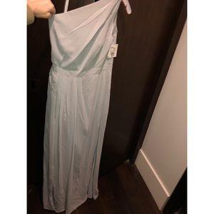 Long One-Shoulder Mystic Crinkle Chiffon Dress